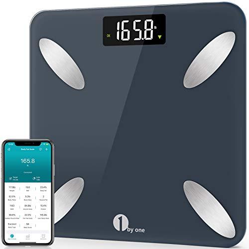 1byone Bilancia Pesa Persona Digitale Smart-Check Bilancia Pesapersone Impedenziometrica Professionale Bluetooth con App, 14 Valori Corporei - BMI, Massa Grassa, Massa Muscolare, 180kg, Pacific Blue