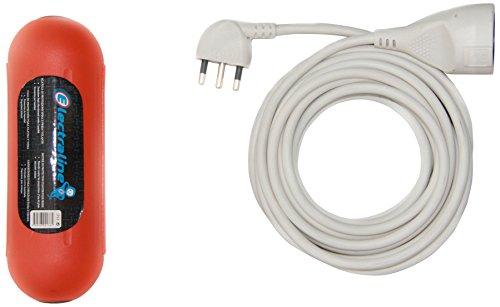 ◊aline 92175 Set verlengkabel 5 MT tweewaardige stekker en stopcontact 10/16 A, wit + containerbescherming waterdicht - kabel 3 G1 mm2