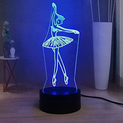 3D nachtlampje LED nachtlampje hanglamp LED Elegant danseres bedlampje 3D ballet wit zwevende tafellamp Touch USB multicolor Deco