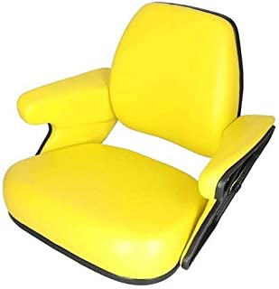 Seat Assembly Vinyl Yellow Compatible with John Deere 4050 4240 7700 4640 7400 4755 4255 4055 4955 4440 4850 4760 4560 4455 7610 7810 4840 7200 4555 2955 4450 7710 7800 4040 4430 7410 4960 4250 4650