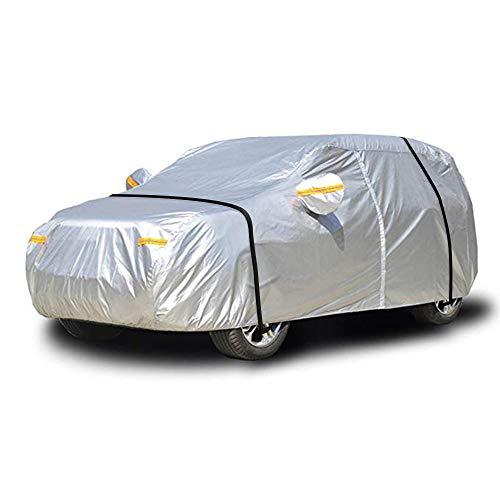 NEVERLAND L Autoabdeckung Vollgarage Auto Hatchback Abdeckplane Autogarage PKW Wasserdicht Staubdicht PKW Autoplane Ganzgarage Atmungsaktiv mit Reißverschluss 450x185x150CM verbessertes Material