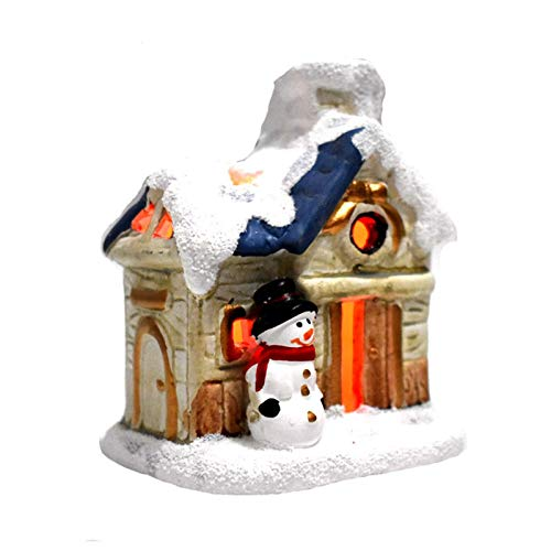Sukaly DIY Christmas Luminous House Gift Fantasy Snow Scene House Village Brew House Lit House Snow Village Christmas Ornament