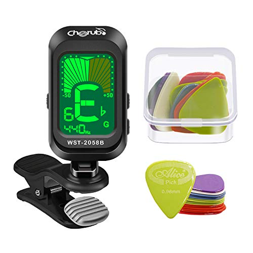 Cherub Guitar Tuner with 18 Pcs Picks, Clip-On Tuner for Guitar, Bass, Ukulele, Violin, Viola, Chromatic Tuning Modes, Fast & Accurate, Easy to Use