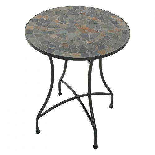 MACOShopde by MACO Möbel Raburg Mosaiktisch Mayla in BLAU/GRAU/BUNT - Gartentisch mit einzigartigem Muster, handgefertigtes Unikat - Rund ø 60 cm, Höhe 70 cm