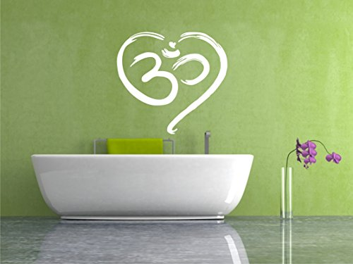 Werbungcreatief muursticker om hart Ohm muursticker spirituele boeddha kleurkeuze yoga grootte keuze 40cm mat zwart