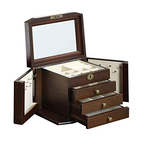 Gymqian Pinecone Lockable Jewellery Box with Mirror, 4 - Tiers Removable Pull-Out Drawers Jewellery Organiser Storage Case for Necklaces Rings Earrings Bracelets and Cufflink, 26X17
