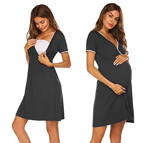 Ekouaer Camicia da notte da donna, per gravidanza, allattamento, con pizzo, scollo a V e maniche corte, S-XXL Nero XL