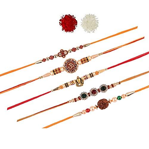 Efulgenz OM Ganpati Rudraksh Rakhi India Raksha Bandan - Pulsera de perlas de imitación para hermano (5 unidades)