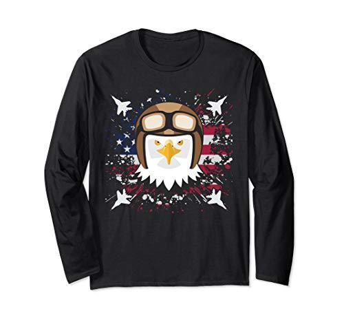 Bald Eagle Jet Fighter Pilot Clipart Graphic USA Flag Long Sleeve T-Shirt