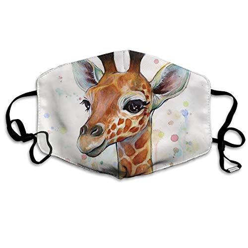 Dnwha Polyester Masker, Baby Giraffe Aquarel Schilderijen, Kwekerij Kunst, stofdicht Masker, Met Knopen Om de Tightness aan te passen, Geschikt voor iedereen