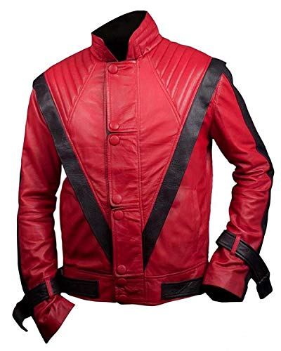 Fashionly Hombres, Mujeres Mj Thriller Nappa Sheepskin Leather Red Jacket