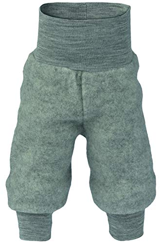 Baby Hose Fleece, 100% Schurwolle, Engel Natur mit Nabelbund, 62/68 cm, Hellgrau Melange