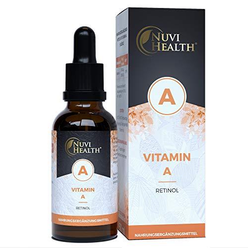 Nuvi Health Vitamin A Tropfen - 5000 I.E (1500 µg) pro Tag - 1700 Tropfen = 50 ML - Laborgeprüft - Hochdosiertes Retinol - Vegan - MCT-Öl aus Kokos - Vitamin A Flüssig Liquid