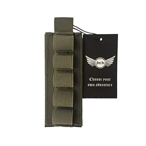 AegisTac Buttstock Tactical Shotgun Shell Holder 1000D Nylon 5 Rounds Mossberg 500 590 Shell Side Saddle Shotshell Carrier (2 x Ranger Green)