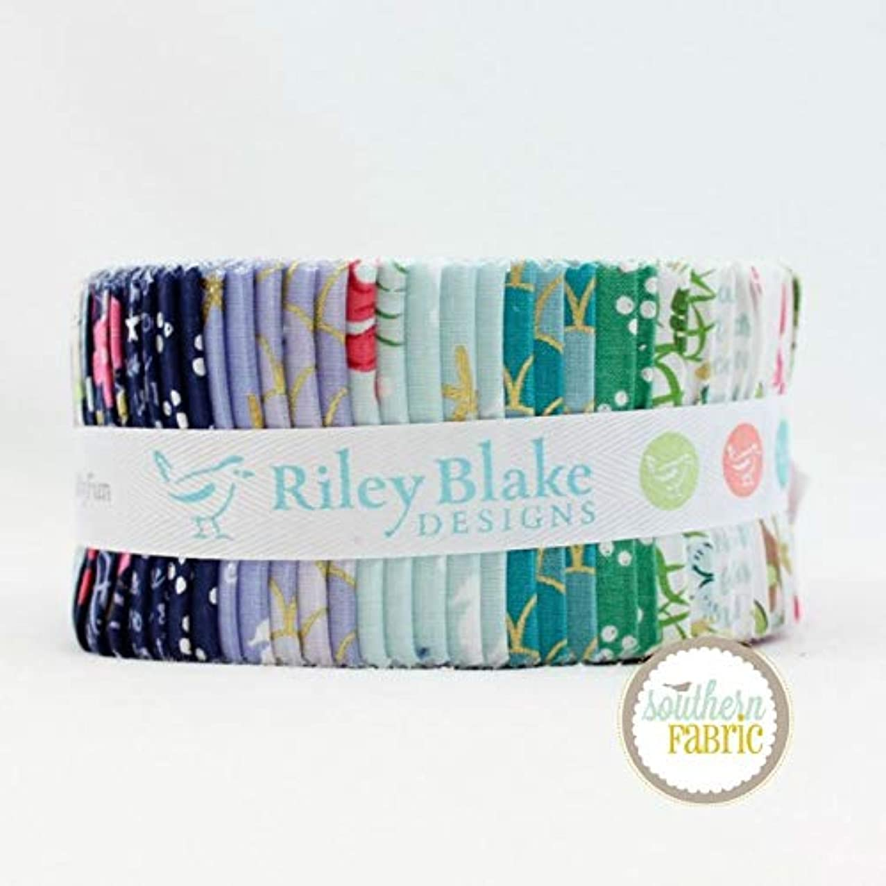 Riley Blake Lets be Mermaids Jelly Roll (40 pcs) by Melissa Mortenson 2.5 x 44 inches (6.35cm x 111.76cm) Fabric Strips DIY Quilt Fabric