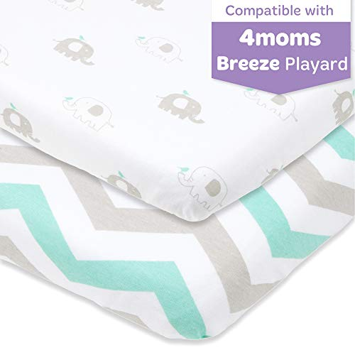 Read About Pack and Play Sheets Fitted – Compatible with 4moms Playard, New Breeze Go, Classic and...