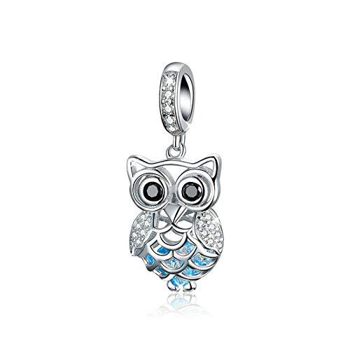 Charm a forma di gufo, in argento Sterling 925, con cristalli di zirconia cubica, compatibile con braccialetti e collane Pandora.
