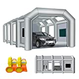 Inflatable Paint Booth, 30X20X13FT Portable Paint Booth with 1100W and 950W Blowers Professional Car Workstation Tent for Spraying Car Auto Parts Big Furniture, Car Garage with Air Filter System