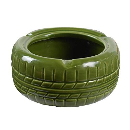 Bandeja de cenizas redonda con forma de neumático retro para fumar en la sala de estar, oficina, mesa de café, cenicero (color: amarillo) YXF99 (color verde)