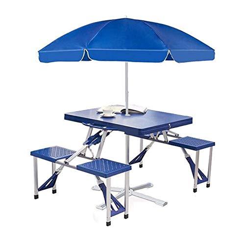 Ff Klappbarer Tisch Tragbarer Klappbarer Camping-Picknicktisch, Klappbarer Tischstuhl Im Freien Mit Sonnenschirm Und Sitzgelegenheiten Für 4 Personen, Für Grillparty Garten Camping Aluminium (Blau)