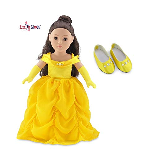 """Emily Rose 18 Inch Doll Gorgeous Princess Belle-Inspired Ball Gown Doll Outfit with Matching Gloves and Shoes! 