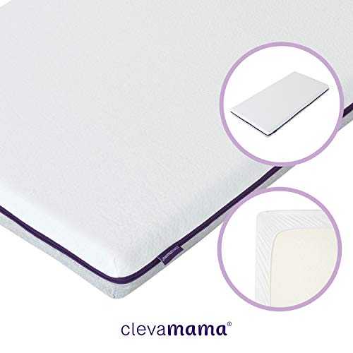 ClevaMama Cool Gel Kinderbett Matratze mit Matratzenschoner Wasserdicht und Atmungsaktiv, 70 x 140 cm (bundle)