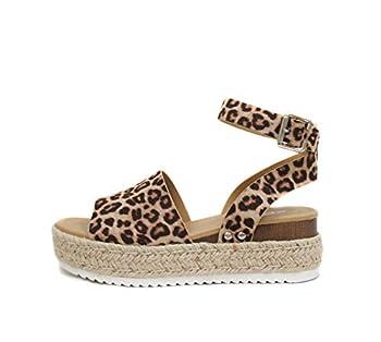 Soda Topic Open Toe Buckle Ankle Strap Espadrilles Flatform Wedge Casual Sandal  7 OAT CHEETAH