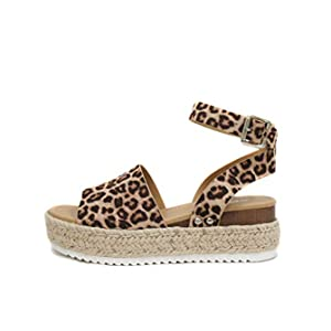 Soda Topic Open Toe Buckle Ankle Strap Espadrilles Flatform Wedge Casual Sandal (8.5, OAT CHEETAH)