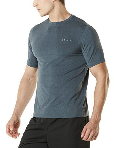 Tesla CLSL TM-MTS04-CHC_Medium Men's HyperDri Short Sleeve T-Shirt Athletic Cool Running Top MTS04