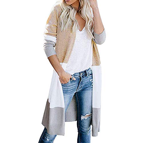 UNIFACO Damen Mantel Langarm Open Front Cardigan Strickjacke Gestreift Strickmantel Pulli