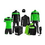 Cofre de peluche Zeus compuesto por traje de trucha, camiseta de fútbol, color verde fluorescente y negro, talla L