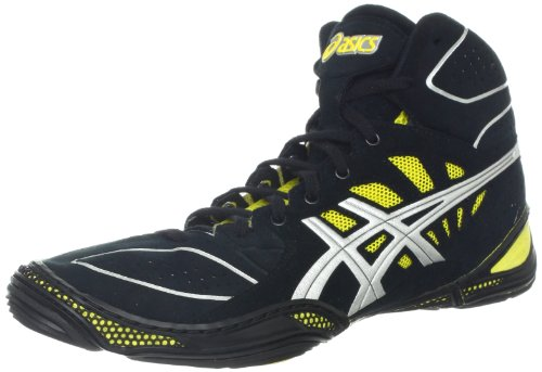 ASICS Men's Dan Gable Ultimate 3 Wrestling Shoe,Black/Silver/Yellow,10.5 M US