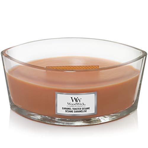 WoodWick, ellipsenförmige Duftkerze mit knisterndem Docht | Caramel Toasted Sesame | Brenndauer bis zu 50Stunden