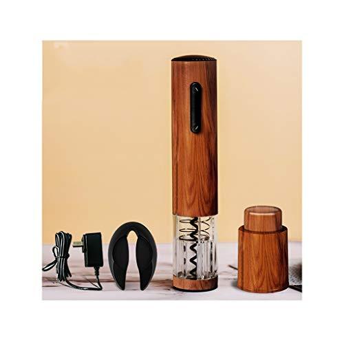 QIFFIY Eléctrica de Vino abridor automático inalámbrico Recargable del Vino del sacacorchos abrebotellas con Papel Cortador de Carga de Acero Inoxidable (Color : Wood)