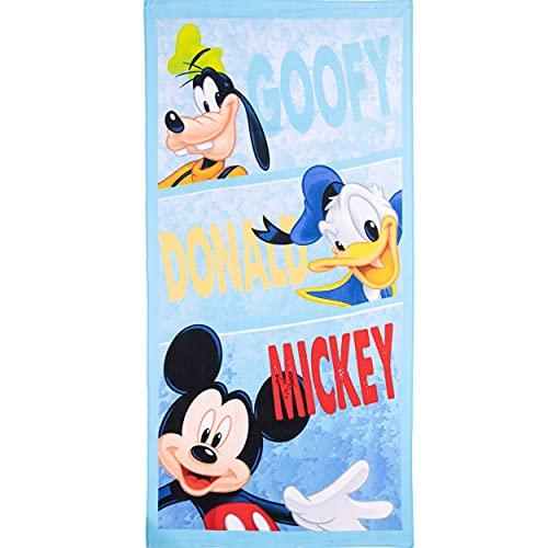 Disney Toalla de baño de Playa de Mickey Mouse & Friends Characters para niños y niñas, de Secado rápido, Tela de Microfibra Ultra Suave, tamaño Grande