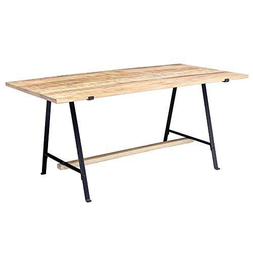 Wohnling eettafel Mango massief hout natuur eetkamertafel 200x78,5x100 cm | keukentafel Loft | houten tafel massief met metalen frame | industriële tafel