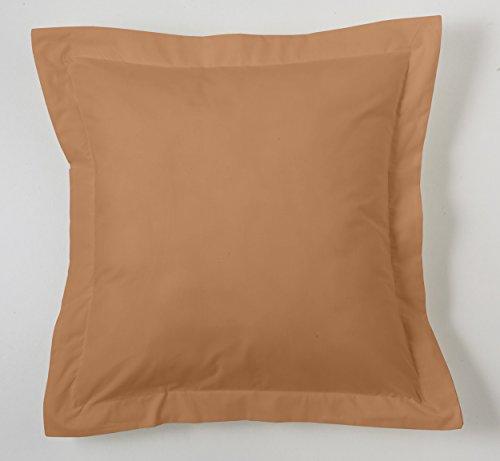 ESTELA - Funda de cojín Combi Lisos Color Marrón - Medidas 55x55+5 cm. - 50% Algodón-50% Poliéster - 144 Hilos - Acabado en pestaña