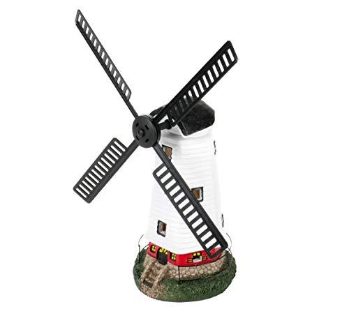 Bubble Store olar Windmühle mit Dämmerungsautomatik, aus Polyresin Kunststoff, dekorativ, 2 warm weiße LEDs, EIN-/Aus-Schalter, amorphes Solarmodul, Akku, Größe ca. 50 x 41,5 x 20 cm