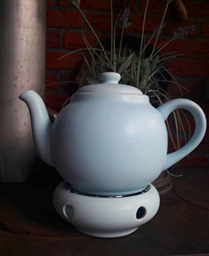 Plint Teekanne m. Stövchen u. Tee-Sieb hellblau eisblau Set 1,5L Steingut Keramik