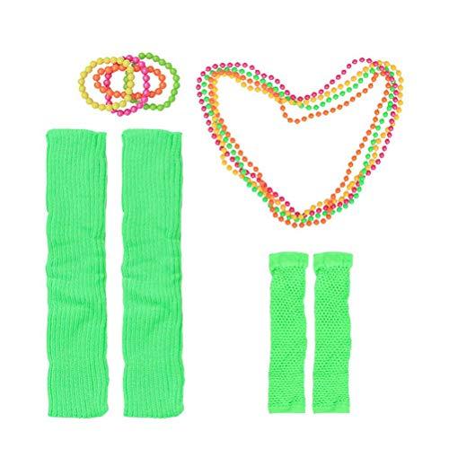 Toyvian Conjuntos de Disfraces para Mujeres 80s Collar de neón Pulseras Sin Dedos Guantes de Red Mangas de Pierna para Accesorios de Fiesta de los años 80 (Verde Claro)