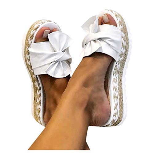 Dasongff Damen Sommer Sandalen Lässige Flache Schuhe Plateau Flat Heel Elegant Espadrilles Römersandalen Pantoletten Peep Toe Flip Flop Schuhe Strandsandalen (Weiß, 40)
