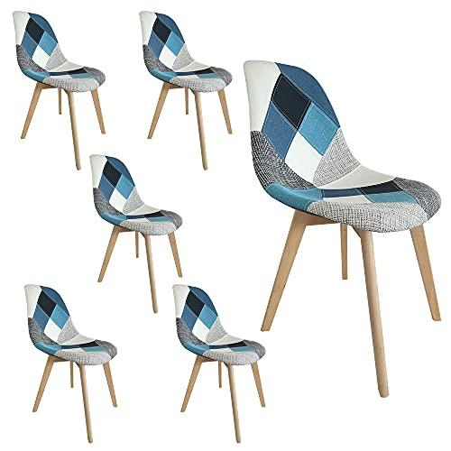 Sedie da pranzo imbottite in set da 2, 4 o 6 sedie con gambe in legno (Blue, 6)
