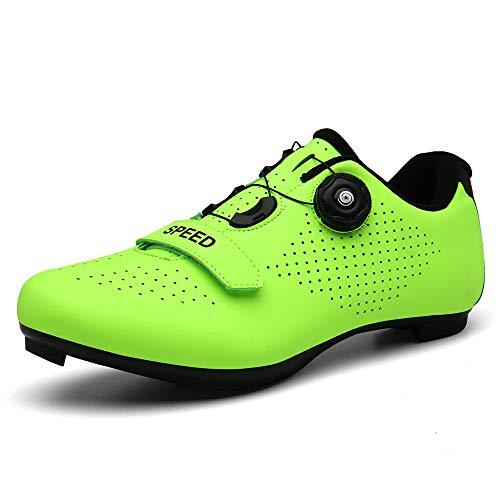 TFNYCT Zapatillas de Ciclismo Antideslizantes, Zapatillas de Bicicleta de Carretera y Montaña de Fibra de Carbono Transpirables (42,Verde)