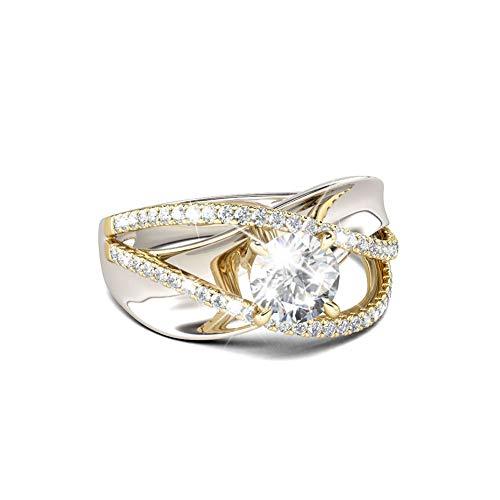 Jeulia Damen Vergoldung Ringe Sterling Silber Zweifarbig Crossover Rundschliff Diamant Ringe Schmuck für Braut Hochzeit Band Verlobungsring Trauring Ehering (50 (15.9))