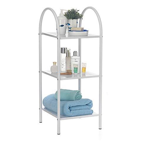 CARO-Möbel Badregal Madurai mit 3 Ablagen, Badezimmerregal in weiß, Handtuchregal aus Metall