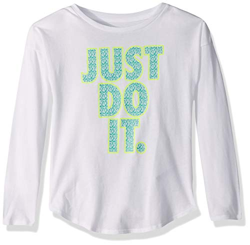 NIKE Children's Apparel Girls' Toddler Long Sleeve JDI Graphic T-Shirt, White/Jade/Volt, 4T
