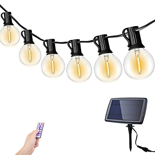Solar String Lights Outdoor, 25FT 25+2 LED G40 Bulbs 4 Modes, Garden String Festoon Lights Dimmable with Remote Control, Patio Lights IP65 Waterproof for Bistro, Balcony, Party, Gathering, Wedding