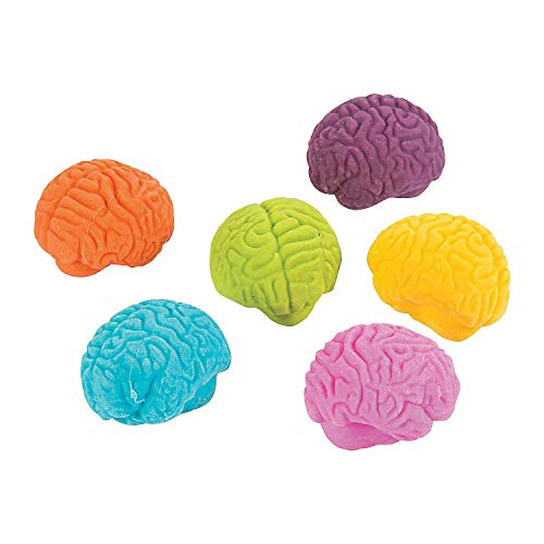 Fun Express Brain Shaped Erasers (Set of 24) Halloween Pencil Accessories