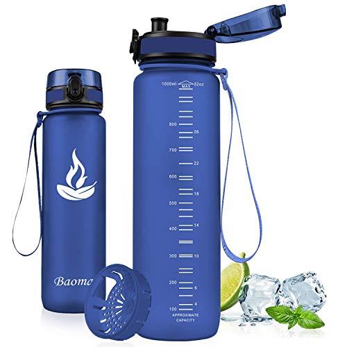 Baomay Trinkflasche Sport mit Sieb, BPA-Frei Auslaufsichere Wasserflasche 1L, Kunststoff Sportflasche Fahrrad Für Kinder, Schule, Outdoor, Camping, Fitness, Yoga, Gym, Wasser Flasche aus Tritan