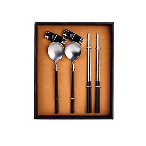 DGHJK Juego de cucharas de Palillos de Acero Inoxidable 304 Vajilla de Estilo Chino Antideslizante portátil para el hogar de Acero Inoxidable 304, una Pieza 27 20,5 CM (Color: Plata)